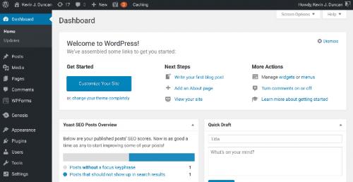 start-a-blog-wordpress-dashboard